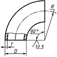 Отвод 102х6 стальной 90 градусов ГОСТ 17375