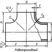 Тройник 108х10 стальной (ст 20) равнопроходной ГОСТ 17376