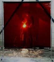 Экран «GAZELLE» 2000х2000 мм c красной защитной шторой 1700х2000х0,4 мм «ORANGE CE».