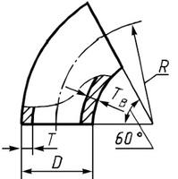 Отвод 108х5 стальной 60 градусов ГОСТ 17375